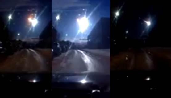 Russie à Mourmansk une boule de feu dans le ciel